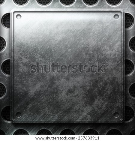 Metal plate on grid. Industrial construction - stock photo