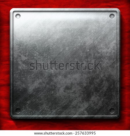 metal plate on red background - stock photo