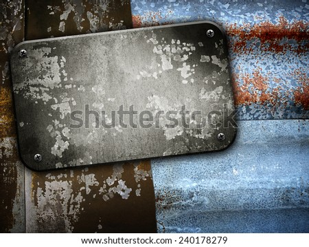 metal plate on rusty fence - stock photo