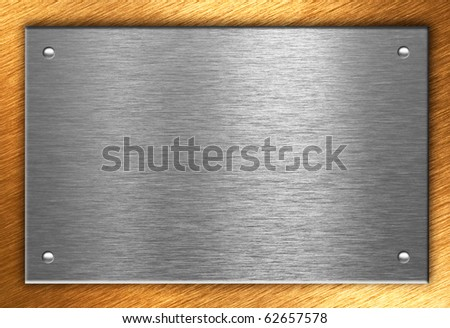 Metal plate over bronze with four rivets - stock photo