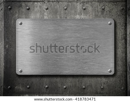 metal plate over grunge rusty background 3d illustration  - stock photo