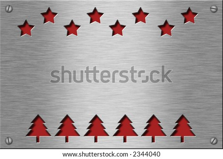 Metal plate series: christmas trees and stars. With room for text. - stock photo