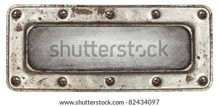 Metal plate texture with screws and frame. - stock photo