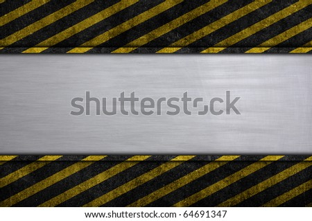 metal plate with caution stripe frame sign