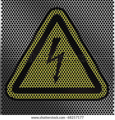 metal plate with Danger - stock photo