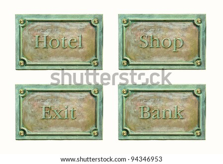 Metal plate with frame and grunge texture for your design. Blank antique weathered plaque with metal surface, isolated on white background. Design elements for cover: hotel, exit, shop and bank.