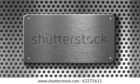metal plate with rivets industrial background - stock photo
