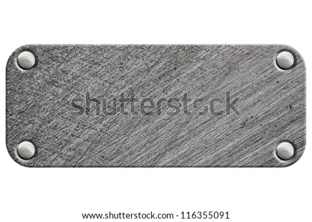 Metal plate with rivets isolated on white background - stock photo