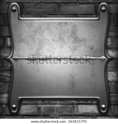 metal plate with rivets on brick wall background - stock photo