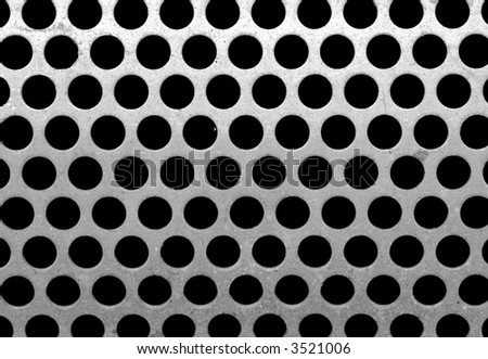 metal plate with round holes - stock photo