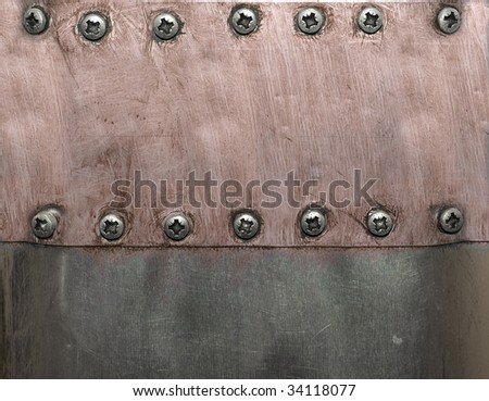 Metal plates with screws grunge look
