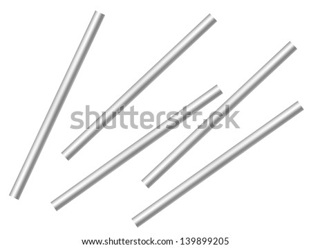 Metal poles isolated against a white background - stock photo