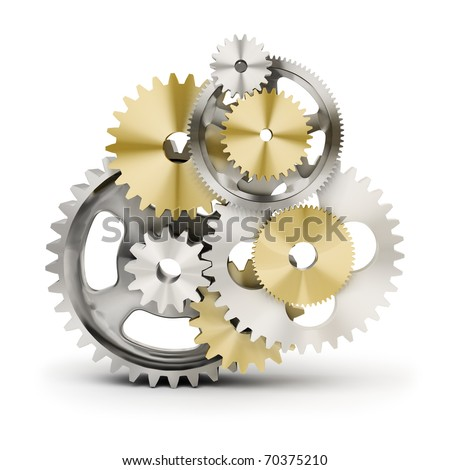Metal polished gears. 3d image. Isolated white background. - stock photo