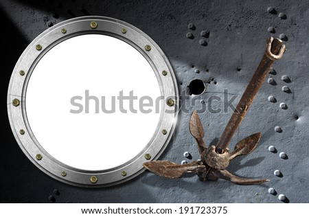 Metal Porthole on Grunge Background / Metallic porthole with bolts on a dark metal background with rivets, holes and old small rusty anchor - stock photo