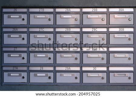 metal postal locker - stock photo