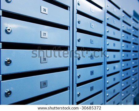Metal postboxes (toned in blue) - stock photo