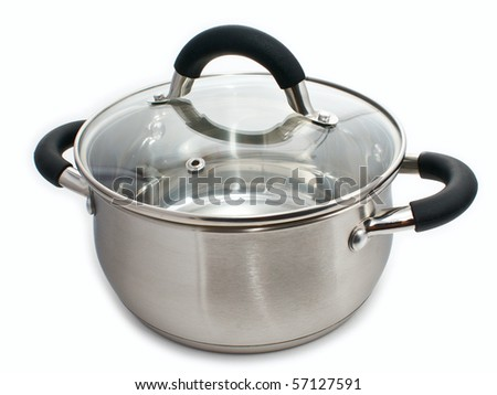 metal pot with glass lid on a white background - stock photo