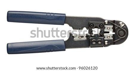 Metal press for network, telephone cables. - stock photo