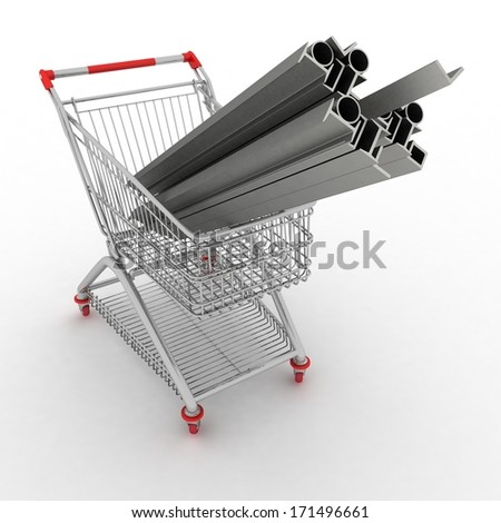 Metal profiles in your shopping cart. Conception of trading.  3d illustration.  - stock photo