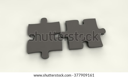 metal puzzle pieces isolated - stock photo