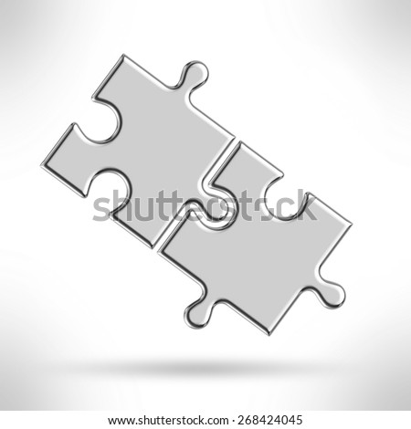 Metal puzzle pieces isolated on a white - stock photo