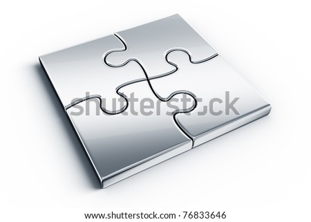 Metal puzzle pieces on a white floor - stock photo