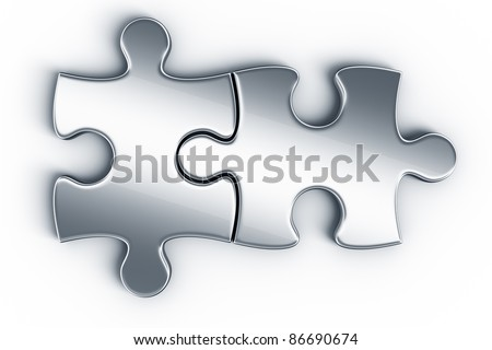 Metal puzzle pieces on a white floor seen from the top - stock photo