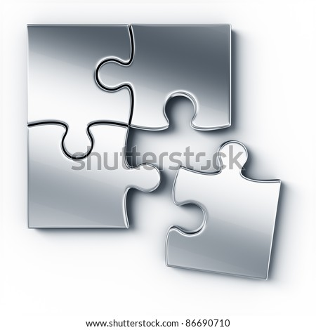 Metal puzzle pieces on a white floor seen from the top