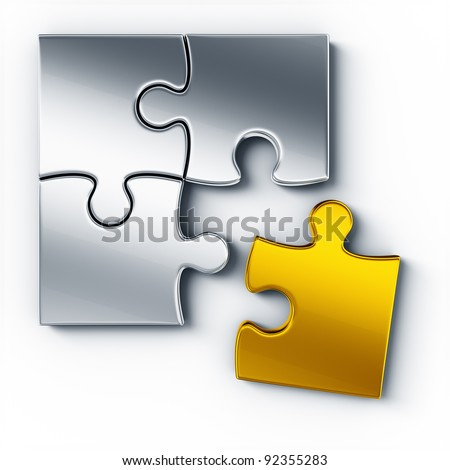 Metal puzzle pieces on a white floor seen from the top, one piece in gold - stock photo