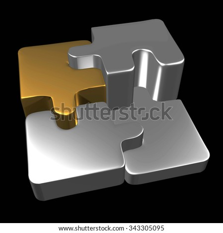 Metal puzzle pieces with black background from the top - stock photo