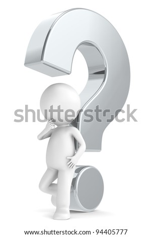 Metal question mark. 3d human character with a Metal question mark - stock photo