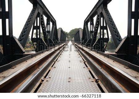 Metal railway bridge - stock photo