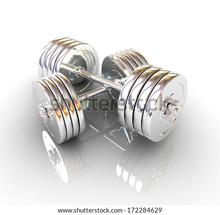 Metal realistic dumbbell  - stock photo