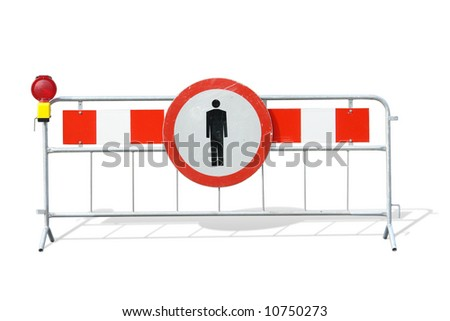 Metal red and white striped road construction barrier with no access sign and red beacon over white background - stock photo