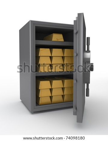 metal reliable safe with gold ingots