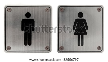 metal restroom Signs isolated over white background - stock photo