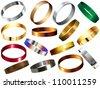 Metal Rings Bracelets Wristband Set - stock vector