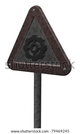 metal roadsign with gear wheel - 3d illustration
