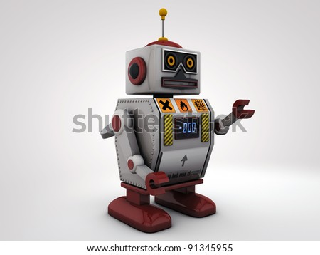 metal robot isolated on white background - stock photo