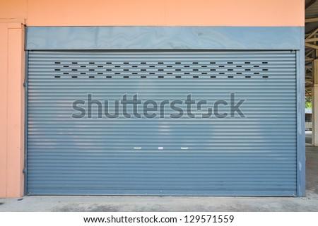 metal roller shutter door - stock photo