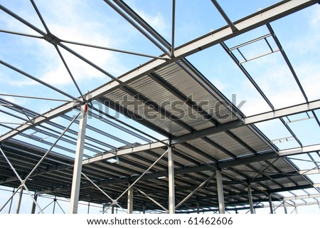 Metal roof construction - stock photo