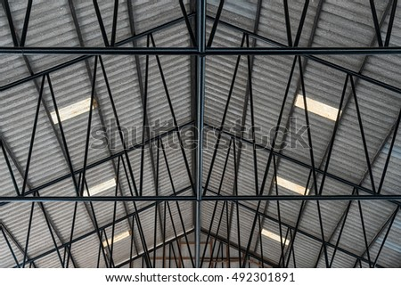 Metal roof structure.