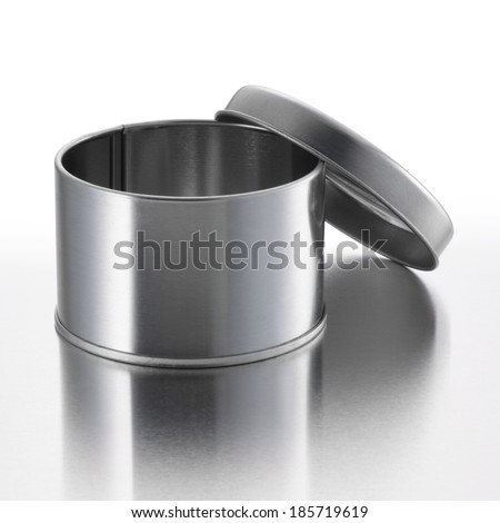 Metal round box - stock photo
