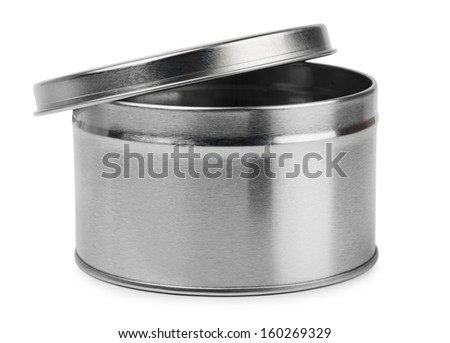 Metal round container isolated on white - stock photo