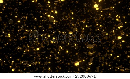 metal round element on the dark background with depth of field with glow reflections ang glows