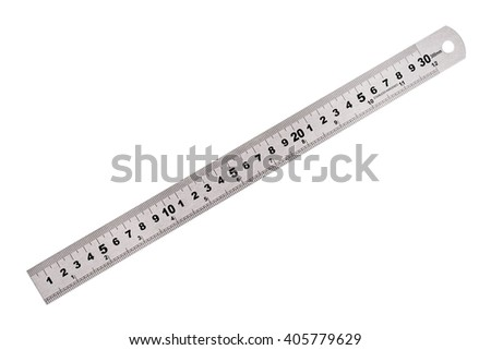 Metal ruler isolated on white background - stock photo
