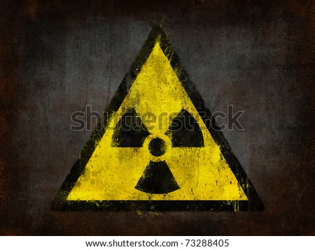 metal rust grunge and ruined with nuclear symbol - stock photo