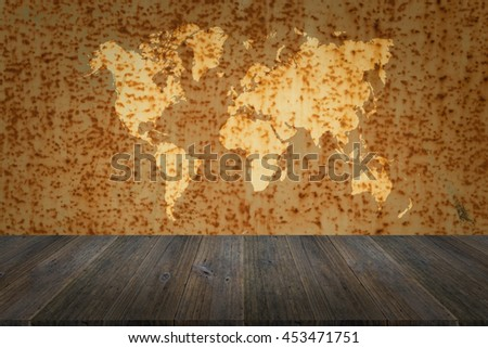 Metal rust wall texture surface natural color use for background with Wood terrace and world map