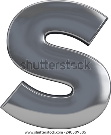 Metal S letter character isolated on white. Including clipping path. Part of complete alphabet set. - stock photo