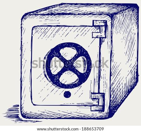 Metal safe. Doodle style. Raster version - stock photo